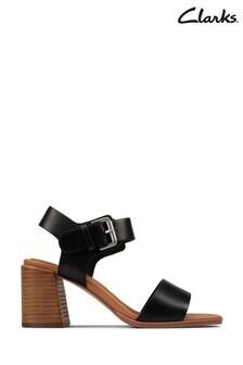 Clarks Black Leather Landra70 Strap Sandals