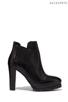AllSaints Black Sarris Ankle Calf Boots