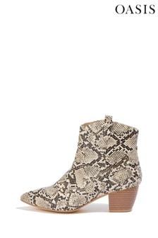 Oasis Natural Snake Heeled Boots