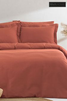 The Linen Yard Red Waffle Duvet Cover And Pillowcase Set