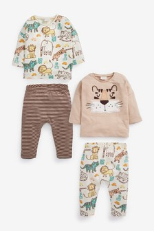 4 Pack Tiger T-Shirt And Legging Set (0mths-2yrs)
