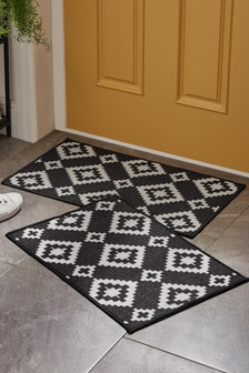 2 Pack Washable Geo Doormat