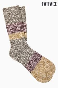 FatFace Khaki Cotton Boot Socks