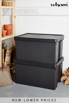 Set of 2 Wham Bam 96L Heavy Duty Plastic Recycled Boxes With Lid