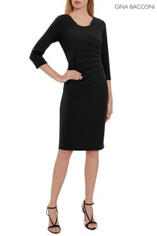 Gina Bacconi Black Ellis Scuba Crepe Dress