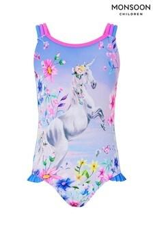 Monsoon Children Purple Phoebe Unicorn Print Swimsuit