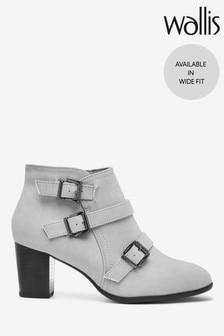 Wallis Grey Multi Buckle Boots
