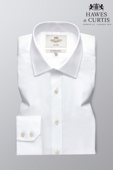 Hawes snd Curtis White Slim Fit Twill Non Iron Single Cuff Shirt