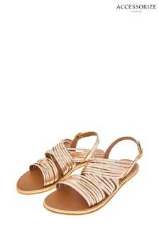 Accessorize Gold Sabrina Strappy Gladiator Sandals