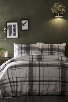 Appletree Brampton Check Brushed Cotton Flannel Duvet Cover and Pillowcase Set