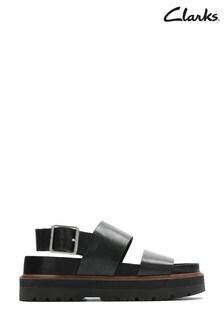 Clarks Black Leather Orianna Strap Sandals