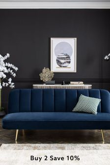 Stella Sofa Bed With Gold Finish Legs
