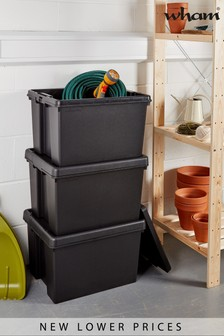 Set of 3 Wham Bam 45L Heavy Duty Plastic Recycled Boxes With Lid