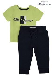 Ben Sherman® Green Mod Script T-Shirt And Joggers Set