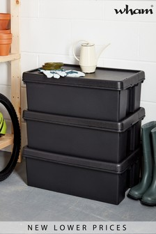 Set of 3 Wham Bam 36L Heavy Duty Plastic Recycled Boxes With Lid