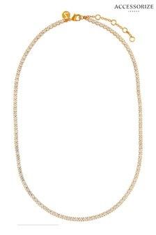 Accessorize Clear Sparkle Tennis Necklace