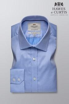 Hawes and Curtis Blue Slim Fit Pique Single Cuff Shirt