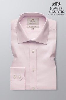 Hawes and Curtis Pink Slim Fit Fabric Interest Single Cuff Shirt