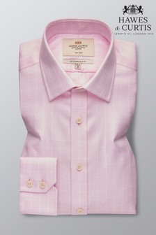 Hawes and Curtis Pink Slim Fit Textured Grid Check Shirt