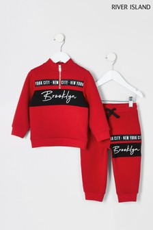 River Island Red Funnel Neck Sweat Set