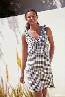 Linen Mix Ruffle Dress