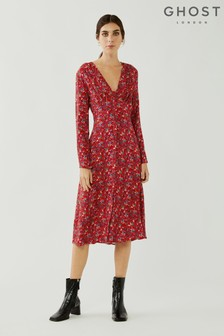 Ghost Red Saffron Floral Print Crepe Dress