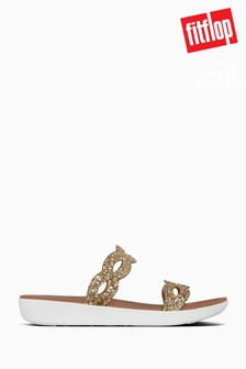 FitFlop™ Gold Kerstin Glitter Interlace Slide Sandals