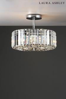 Laura Ashley Chrome Fernhurst 3 Light Art Deco Ceiling Light