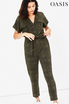 Oasis Green Printed Utility Jumpsuit