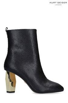 Kurt Geiger London Daxon Black Print Leather Boots