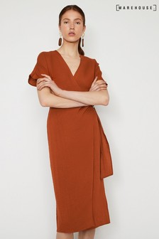 Warehouse Brown Textured Buckle Crepe Dress
