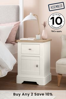Hampton Country Luxe Painted Oak Storage Bedside Table