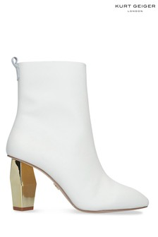 Kurt Geiger Ladies Daxon Cream Leather Boots