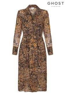 Ghost London Brown Eloise Snake Print Georgette Dress
