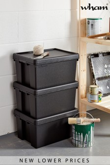 Set of 3 Wham Bam 16L Heavy Duty Plastic Recycled Boxes With Lid