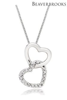 Beaverbrooks 9ct Diamond Double Heart Pendant