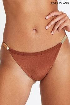 River Island Brown Gold Trim High Leg Bikini Brief