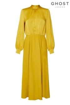 Ghost London Yellow Renae Yellow Dress