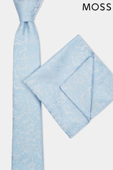 Moss London Sky Tonal Rose Tie & Pocket Square Set