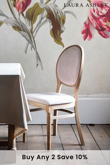 Wellington Oak Pair Of Upholstered Dining Chairs by Laura Ashley