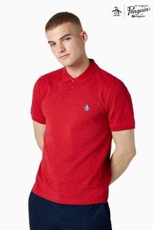 Original Penguin® Red Short Sleeved Sticker Pete Raised Rib Poloshirt
