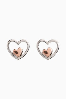 Rose Gold Plated Inset Heart Stud Earrings