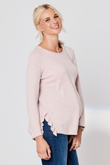 Maternity Knitted Ruffle Top