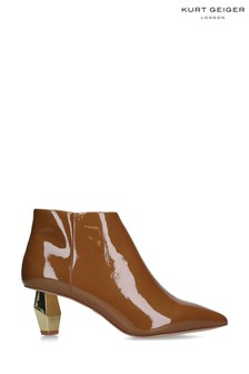 Kurt Geiger Ladies Della Camel Patent Boots