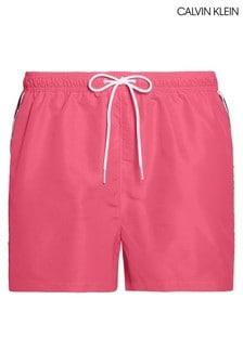 Calvin Klein Pink Mono Tape Short Drawstring Swim Trunks