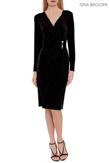 Gina Bacconi Black Myani Studded Jersey Dress