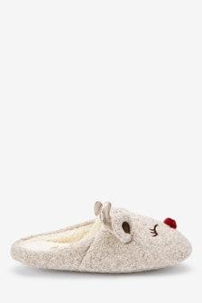'Ruby' Reindeer Mule Slippers