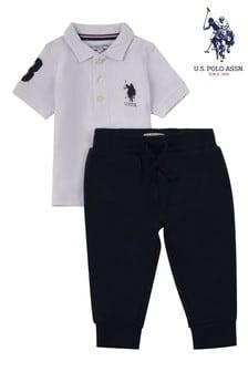 U.S. Polo Assn. White Player Polo & Joggers Set