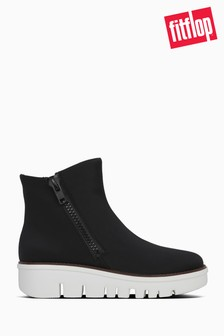 FitFlop™ Black Chunky Zip Ankle Boots