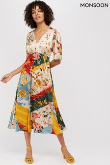 Monsoon Cream Oana Print Tea Dress